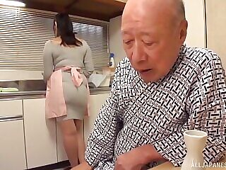 Old guy finally talks busty Nonami Shizuka into pleasing his dick
